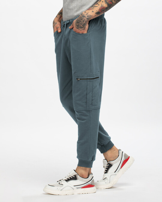 Shop Dark Grey Casual Cargo Zipper Joggers-Back