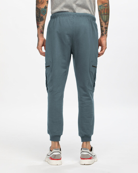 Shop Dark Grey Casual Cargo Zipper Joggers-Design
