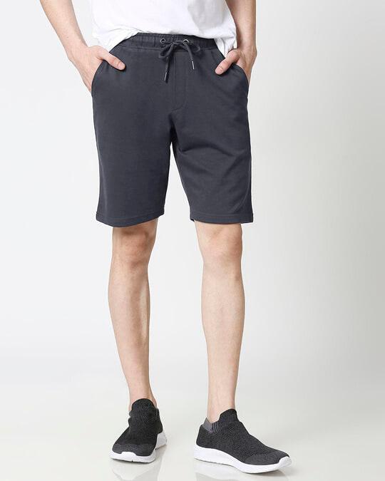 Shop Dark Grey Casual Shorts-Front