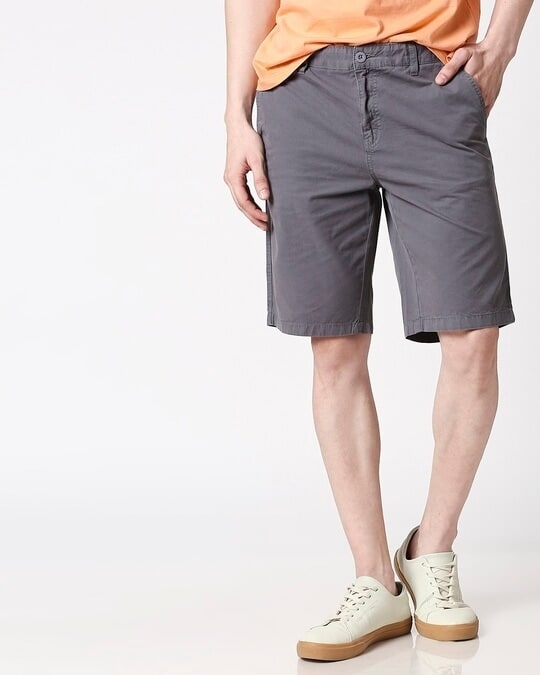 Shop Dark Grey Plain Shorts-Front