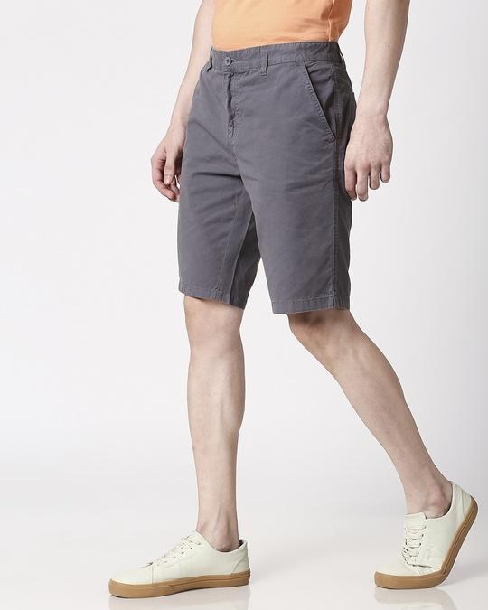 Shop Dark Grey Plain Shorts-Design