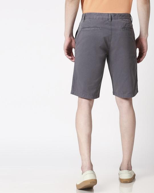 Shop Dark Grey Plain Shorts-Full