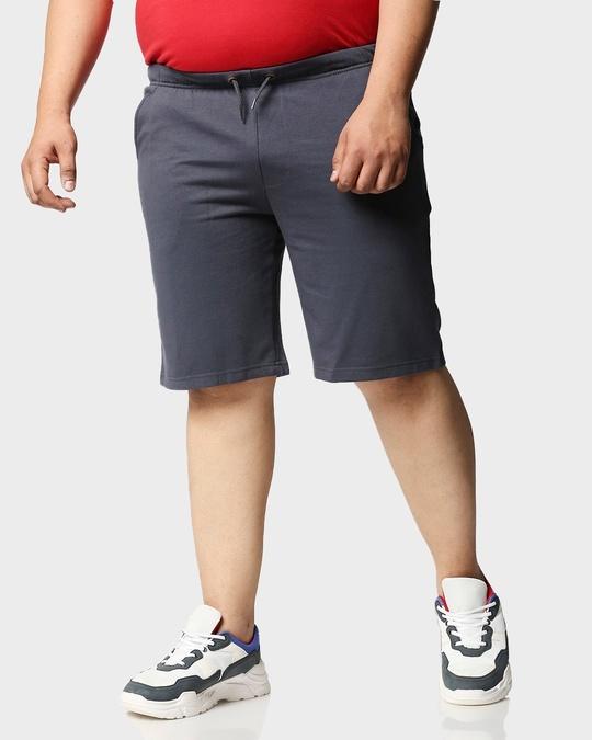 Shop Dark Grey Plus Size Casual Shorts-Back