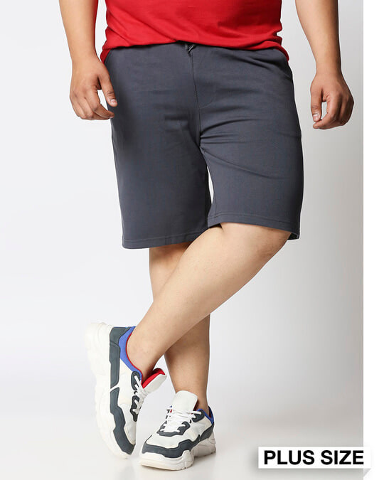 Shop Dark Grey Plus Size Casual Shorts-Front