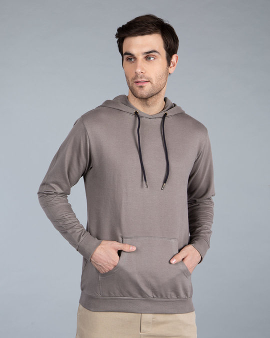 Shop Dark Gull Grey Fleece Hoodies-Back