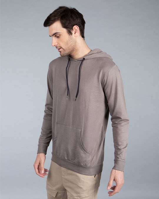 Shop Dark Gull Grey Fleece Hoodies-Full