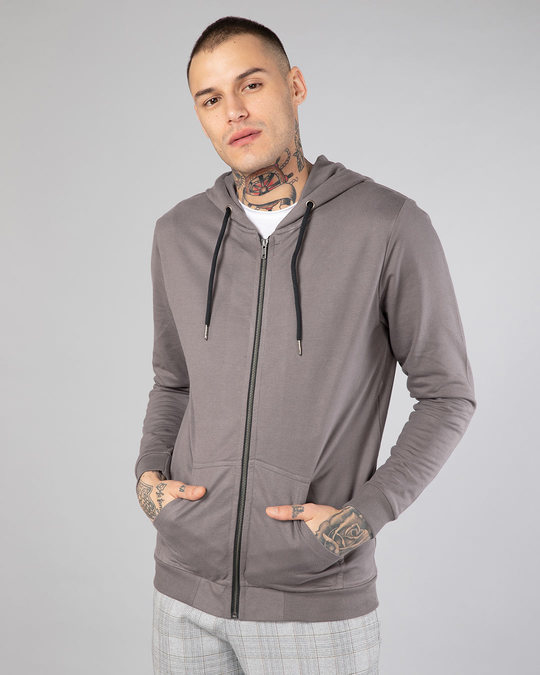 Shop Dark Gull Grey Fleece Zipper Hoodies-Front