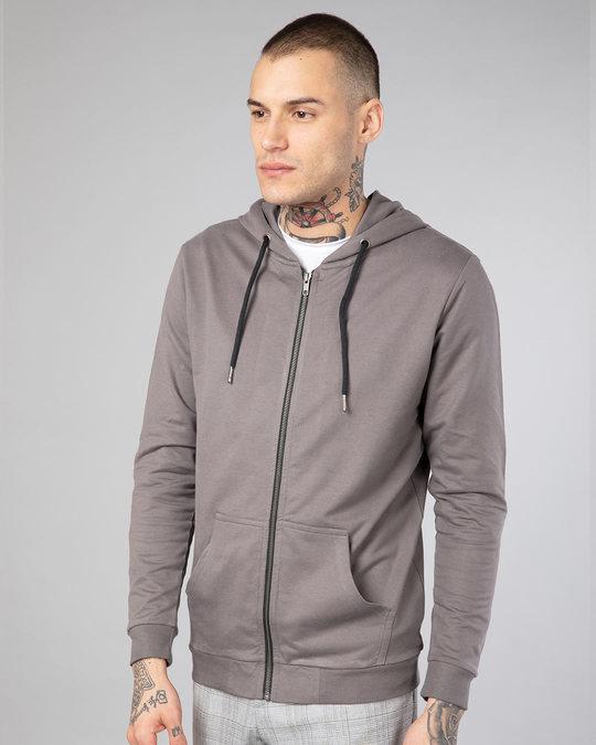 Shop Dark Gull Grey Fleece Zipper Hoodies-Back