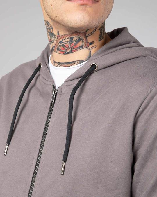 Shop Dark Gull Grey Fleece Zipper Hoodies