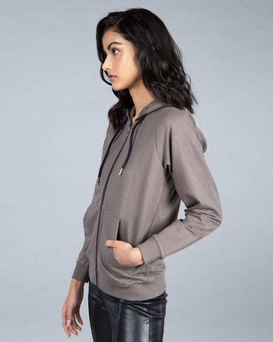 Shop Dark Gull Grey Fleece Zipper Hoodies-Full