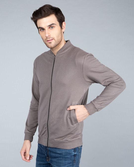 Shop Dark Gull Grey Plain Zipper Bomber Jacket-Design