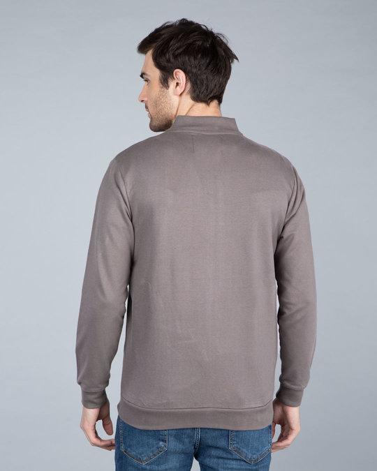 Shop Dark Gull Grey Plain Zipper Bomber Jacket-Full