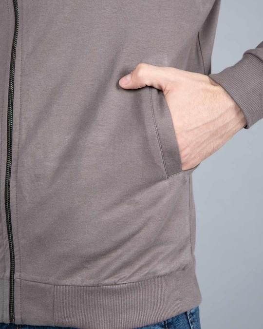Shop Dark Gull Grey Plain Zipper Bomber Jacket