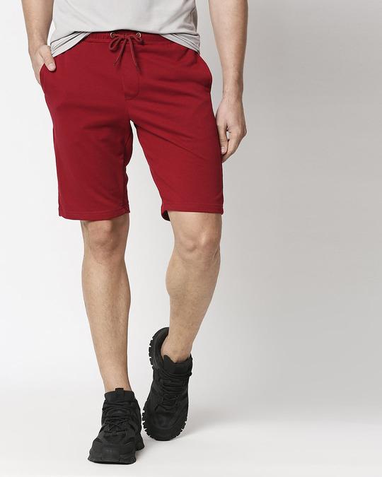 Shop Dark Maroon Casual Short-Front
