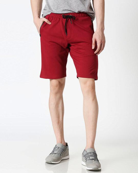 Shop Dark Maroon Zipper Shorts-Front