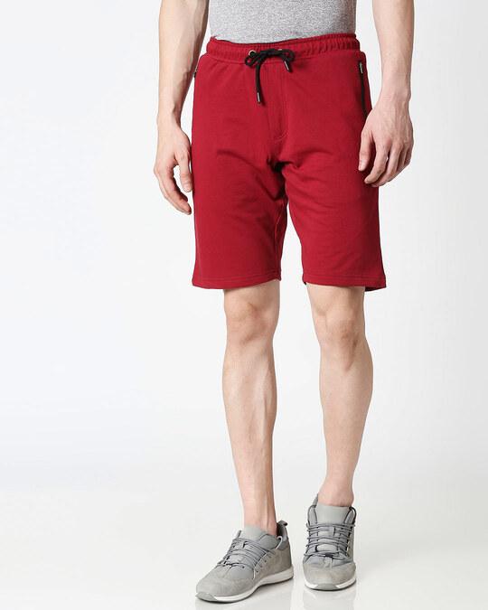 Shop Dark Maroon Zipper Shorts-Back