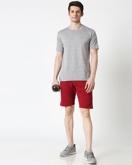 Shop Dark Maroon Zipper Shorts