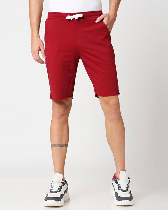 Shop Dark Maroon Raw Hem Shorts-Back