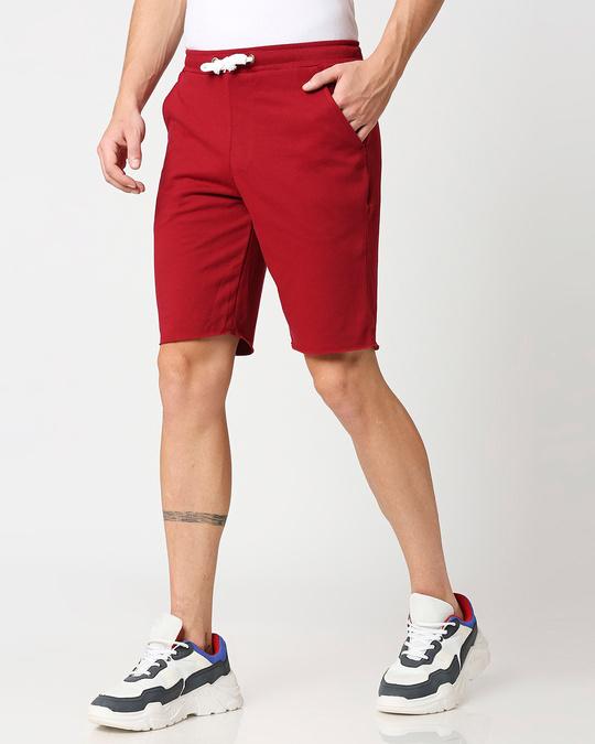 Shop Dark Maroon Raw Hem Shorts-Design