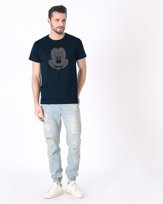 Shop Dark Mickey Face Half Sleeve T-Shirt (DL)