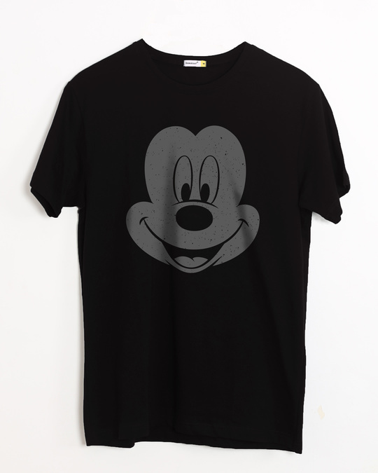 Shop Dark Mickey Face Half Sleeve T-Shirt (DL)-Front