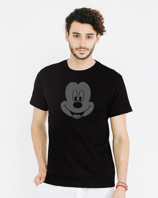 Shop Dark Mickey Face Half Sleeve T-Shirt (DL)-Back