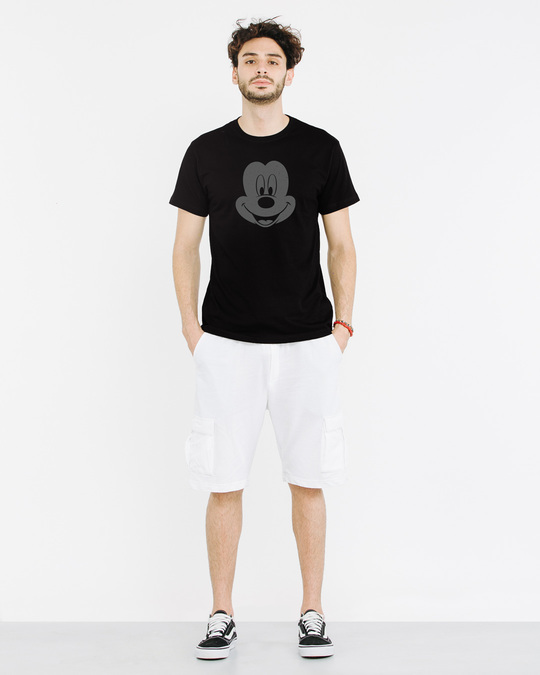 Shop Dark Mickey Face Half Sleeve T-Shirt (DL)