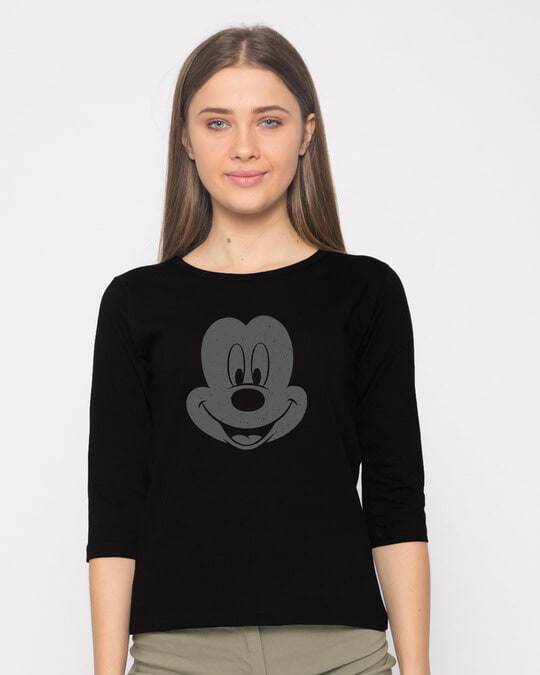 Shop Dark Mickey Face Round Neck 3/4th Sleeve T-Shirt (DL)-Front