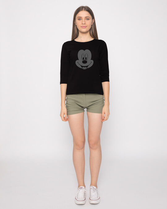 Shop Dark Mickey Face Round Neck 3/4th Sleeve T-Shirt (DL)
