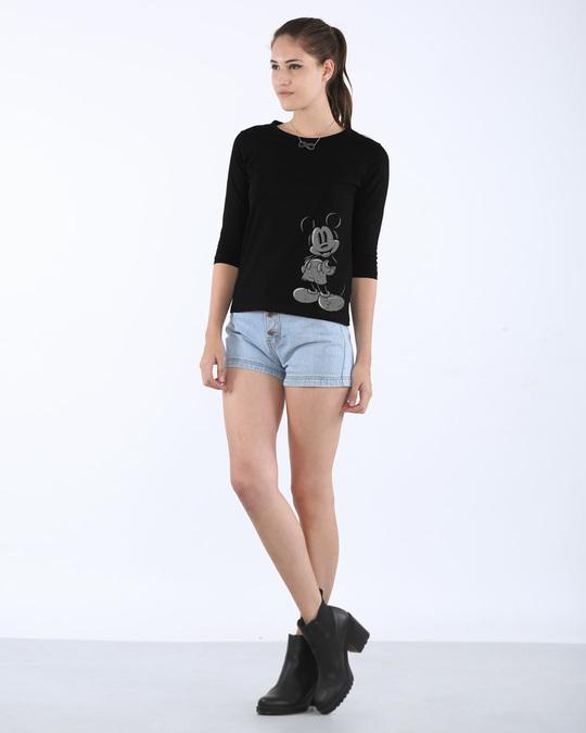 Shop Dark Mickey Round Neck 3/4th Sleeve T-Shirt (DL)