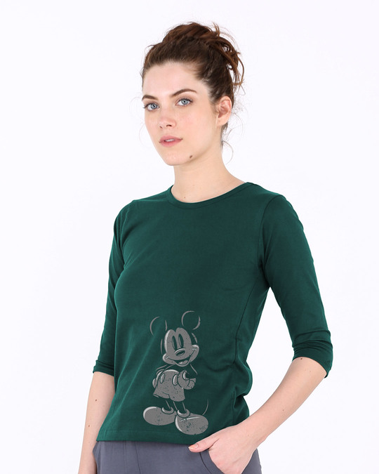 Shop Dark Mickey Round Neck 3/4th Sleeve T-Shirt (DL)-Back