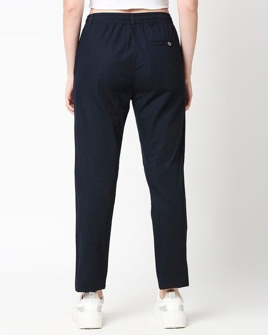 Shop Dark Navy Blue Casual Cotton Trouser-Full