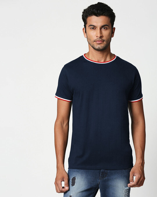 Shop Dark Navy Crewneck Varsity Rib Half Sleeves T-shirt-Front