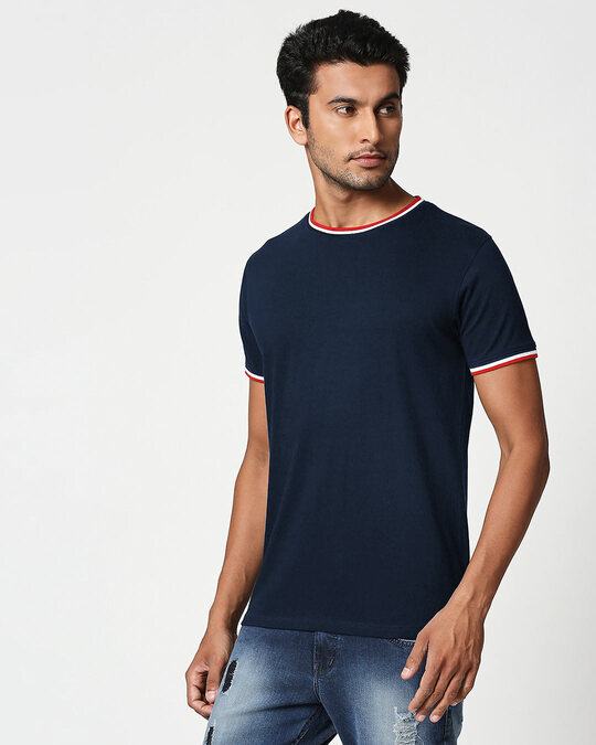 Shop Dark Navy Crewneck Varsity Rib Half Sleeves T-shirt-Back