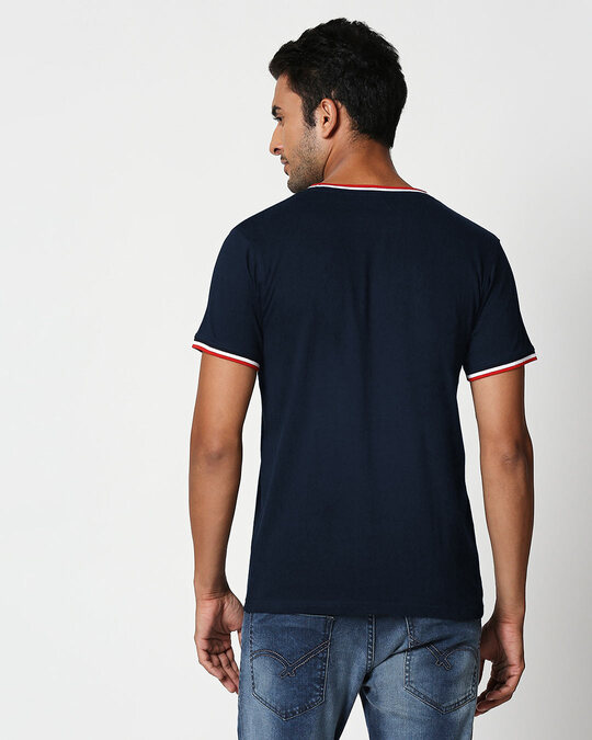 Shop Dark Navy Crewneck Varsity Rib Half Sleeves T-shirt-Design