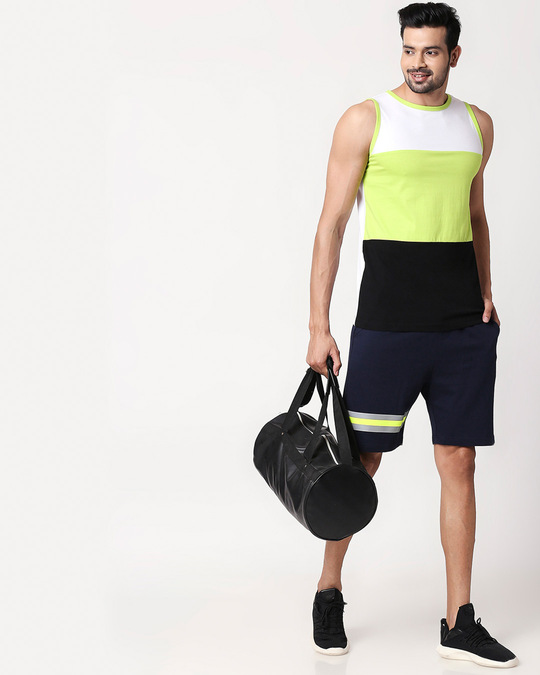 Shop Dark Navy-Neon Lime Reflector Shorts-Full