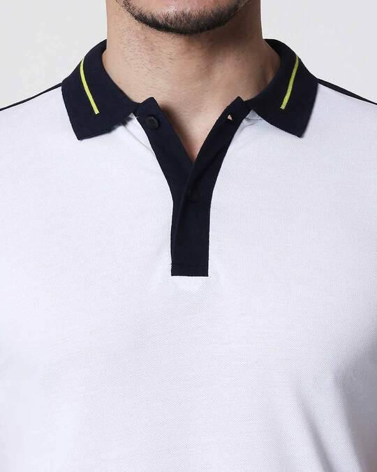 Shop Men's White-Black Sporty Sleeve Panel Polo T-Shirt
