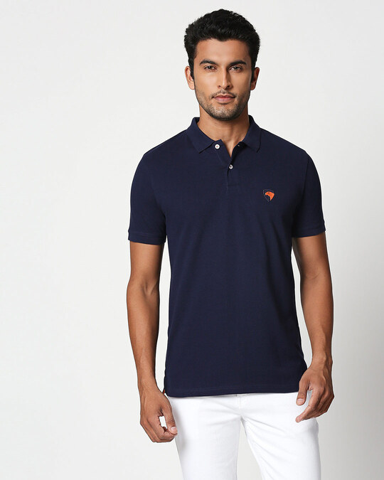 Shop Dark Navy-Neon Tangerine Contrast Collar Pique Polo T-Shirt-Front