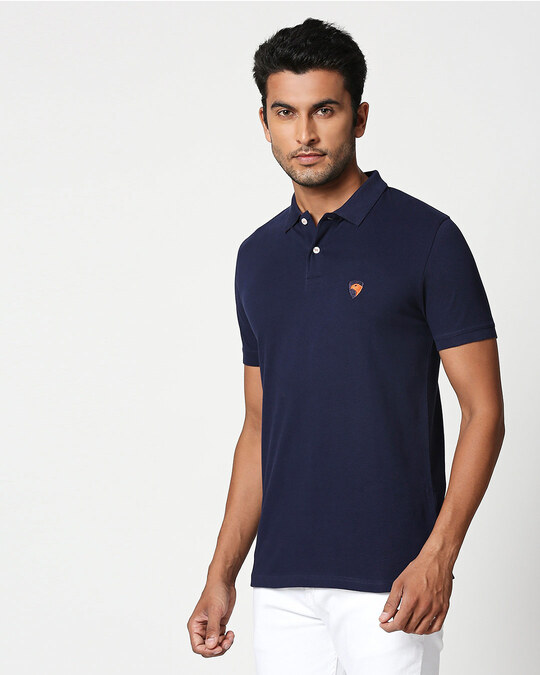 Shop Dark Navy-Neon Tangerine Contrast Collar Pique Polo T-Shirt-Back