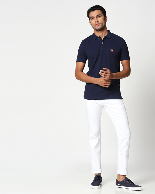 Shop Dark Navy-Neon Tangerine Contrast Collar Pique Polo T-Shirt-Full