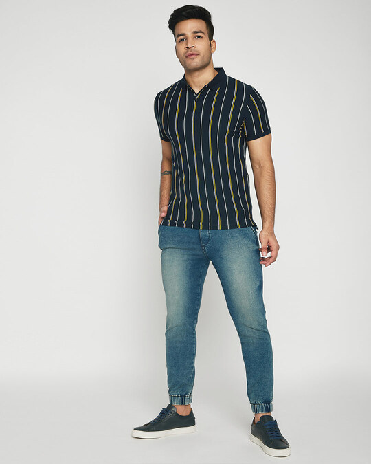 Shop Dark Navy Vertical Striped Pique Polo T-Shirt-Full