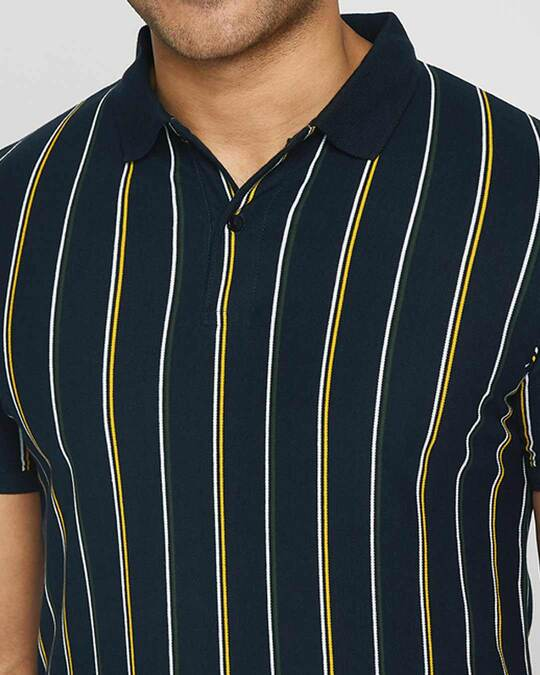 Shop Dark Navy Vertical Striped Pique Polo T-Shirt