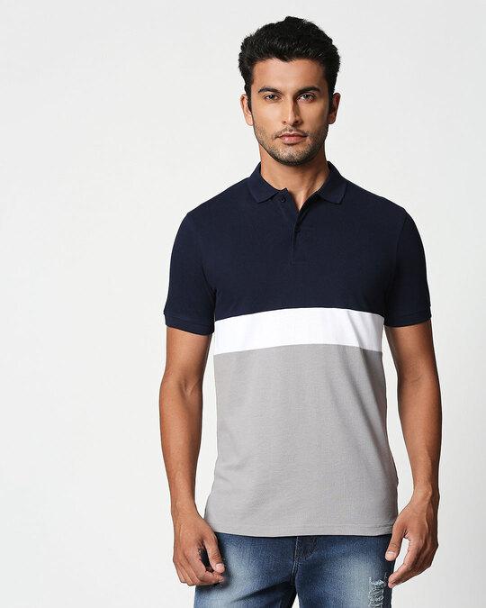 Shop Dark Navy-Whie-Meteor Grey Triple Block Polo T-Shirt-Front