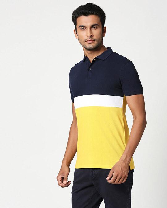 Shop Dark Navy-White-Cyber Yellow Triple Block Polo T-Shirt-Back