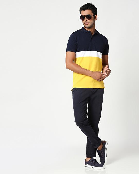 Shop Dark Navy-White-Cyber Yellow Triple Block Polo T-Shirt-Full