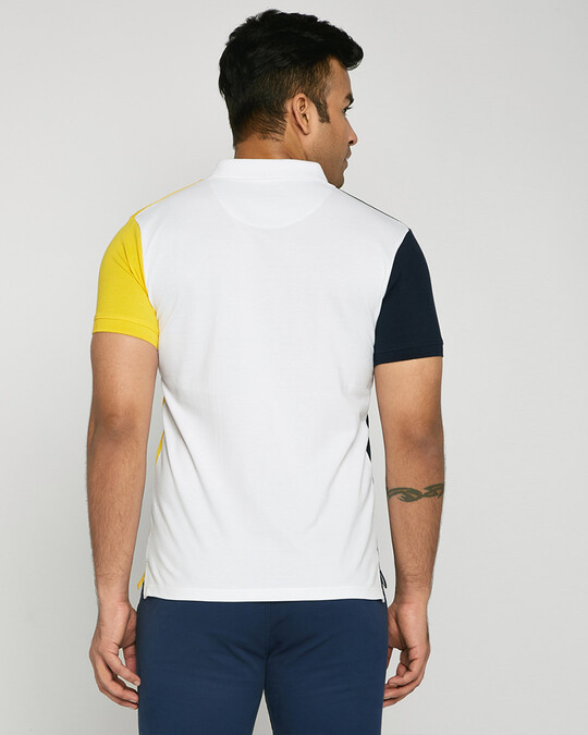 Shop Dark Navy-White-Cyber Yellow Triple Vertical Block Polo T-Shirt-Design
