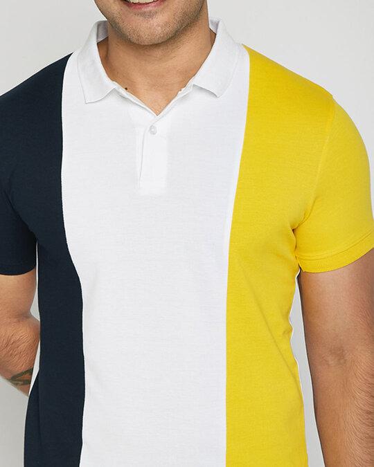 Shop Dark Navy-White-Cyber Yellow Triple Vertical Block Polo T-Shirt