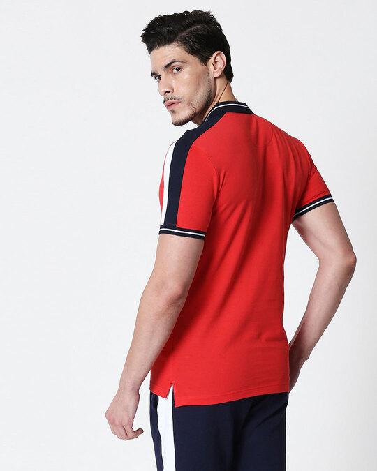 Shop Men's Dark Navy-White-Imperial Red Sporty Sleeve Panel Polo T-Shirt-Design