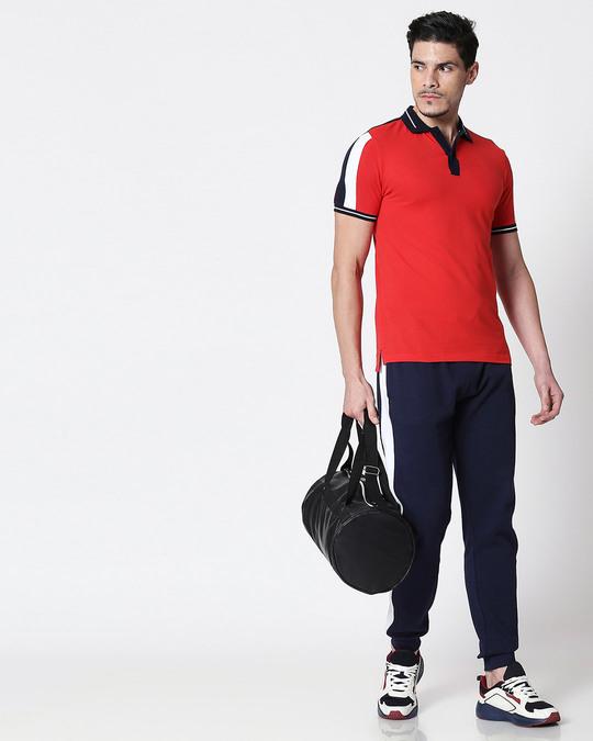 Shop Men's Dark Navy-White-Imperial Red Sporty Sleeve Panel Polo T-Shirt-Full