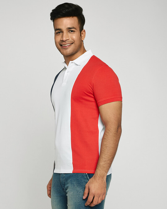 Shop Dark Navy-White-Imperial Red Triple Vertical Block Polo T-Shirt-Back